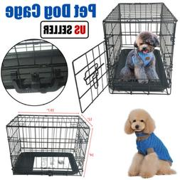 "20"" Pet Dog Carrier Folding Dog Cat Crate Cage Kennel Plaype"