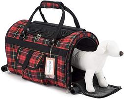 Prefer Pets 312 Hideaway Duffel Pet Carrier Red Plaid - Airl