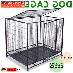 """48"""" DOG CRATE KENNEL PET CAGE CARRIER BOX HEAVY DUTY EXERCIS"""