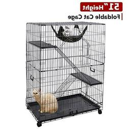 "51""H Large Folding Collapsible Pet Cat Wire Cage Indoor Outd"