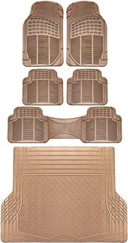 OxGord 6pc Full-Set Ridged Rubber Floor Mats, Universal Fit
