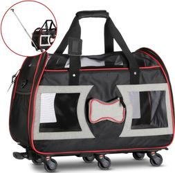 WPS Airline Approved Pet Carrier with Wheels for Small Dogs