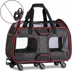 Katziela Airline Approved Pet Carrier with Wheels for Small