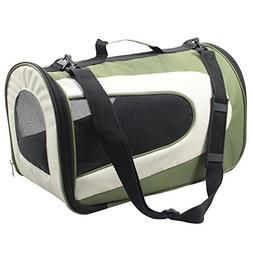 Pet Life Airline Zippered Forest Green/Khaki Folding Sporty