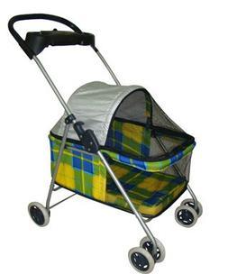 BP-S8012-Yellow Plaid BestPet Posh Pet Stroller Cat Dog Easy