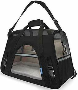 """Black Pet Carrier With Fleece Bed for Dog & Cat 19"""" X 10"""" X"""