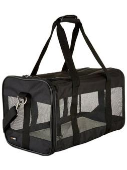 AmazonBasics Black Soft-Sided Pet Travel Carrier Small - Ope
