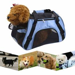 Blue Fabric Pet Carrier Soft Sided Cat Dog Comfort Travel To