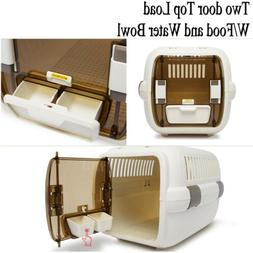 Cat Pet Travel Crate Pet Carrier Plastic &Wire Kennel Cab w/