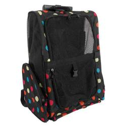 Colorful Pet Carrier Dog Rolling Backpack Travel Airline Whe