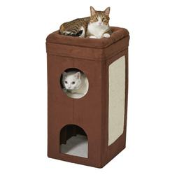 MidWest Curious Cat Cube, Cat House / Cat Condo Color: Brown