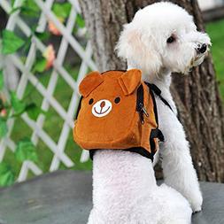 BUYITNOW Cute Pet Backpack Harness Travel Outdoor Hiking Adj