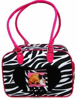 DOG CARRIER Pet CAT TRAVEL ZEBRA Print Pink Puppy Bag Purse