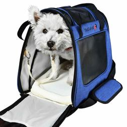 E ESS & CRAFT Blue Soft Airline-Approved Pet Carrier Side Lo