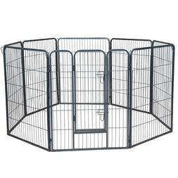 Pet Exercise Pen Tube Gate w/ Door -  Heavy Duty Folding Met