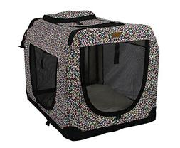"BestPet 24"" Folding Pink Leopard Pet Dog House Soft Crate Ca"