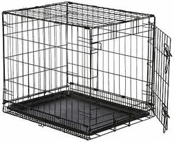 Folding Sturdy Metal Dog Crate Single Door Pet Cage  Plastic