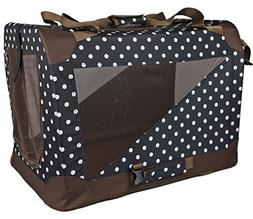 Small Polka Dot Navy PET LIFE 360/° Vista View Zippered Soft Folding Collapsible Durable Metal Framed Pet Dog Crate House Carrier