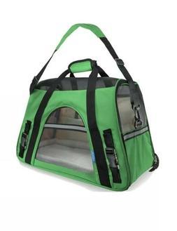 OxGord green & black pet carrier, soft sided, fabric & mesh,