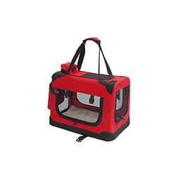 "ALEKO 19X14X12"" Heavy Duty Collapsible Red Pet Carrier Porta"
