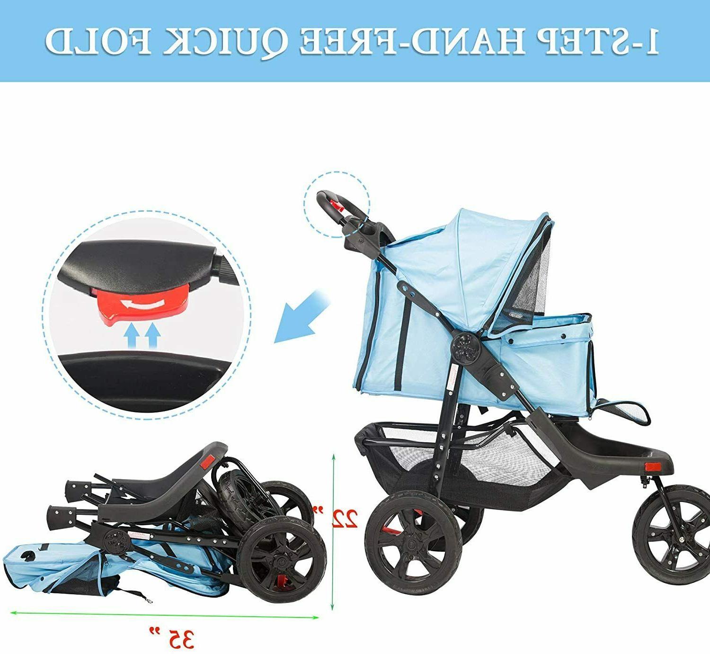 VILOBOS Wheel Pet Stroller Cat Folding Travel w/ Cup Holder