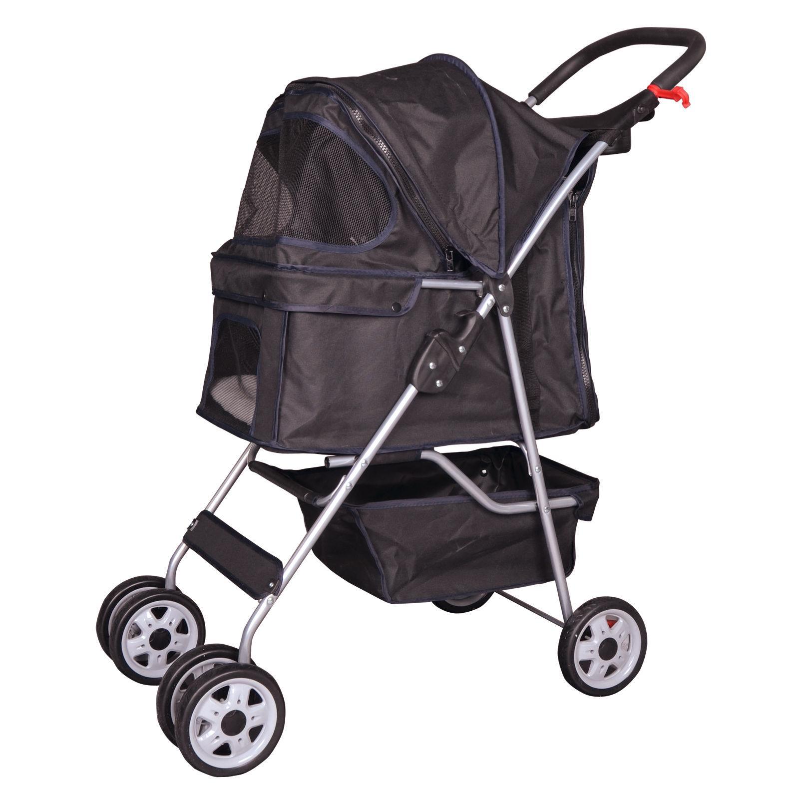 4 wheels pet stroller cat dog cage