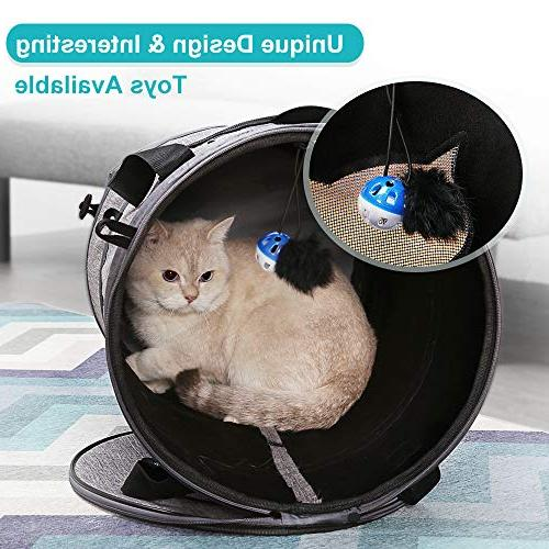 Docamor Soft-Sided Collapsible Portable Cat Travel Carrier Bag Cage Bed Tunnel 2 Mat Toys for Medium Sized