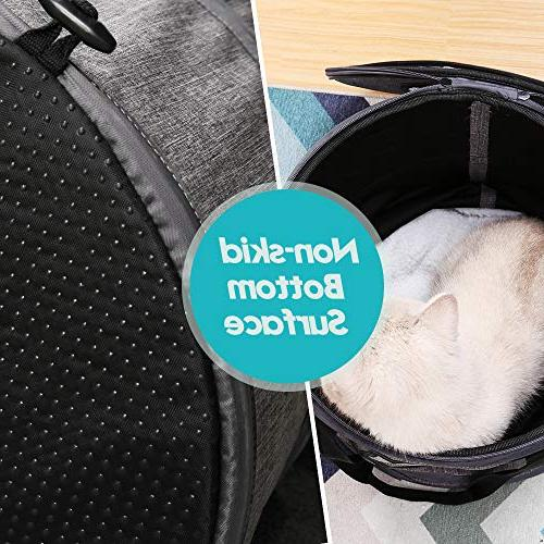 Docamor Airline Soft-Sided Collapsible Cat Travel Cage Bed 2 Ventilation,Cotton Mat Toys for Small Sized