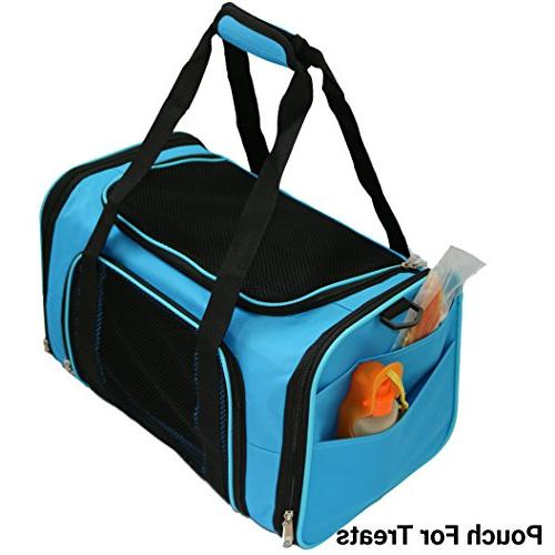 """Mr. Airline Soft 17.5X11X11 Travel Tote Soft Padded Bedding Strong 1/4"""" Base, Seatbelt Luggage Perfect and Small Dogs"""