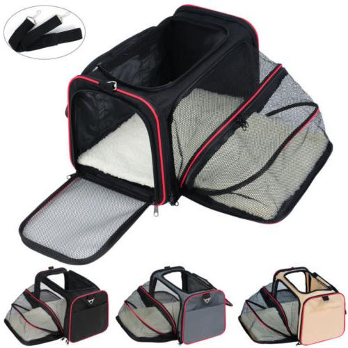 Black Folding Pet Cat Puppy Tote Kennel Bag