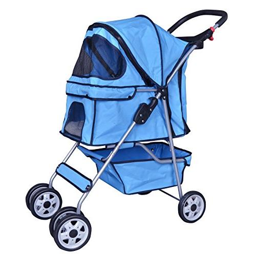 blue 4 wheels pet stroller