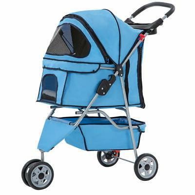 blue pet stroller cat dog