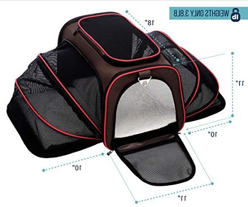 Petyella Carrier and Expandable Sided for Pet - Approved Kennel Bag 2.8 with Bonus Bowl,Dark
