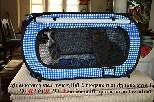 "Pet Life Extra Large Collapsible/Portable Cage/Condo with Box and Bonus Cat Feather Toy Water/Food Large 32"" x"