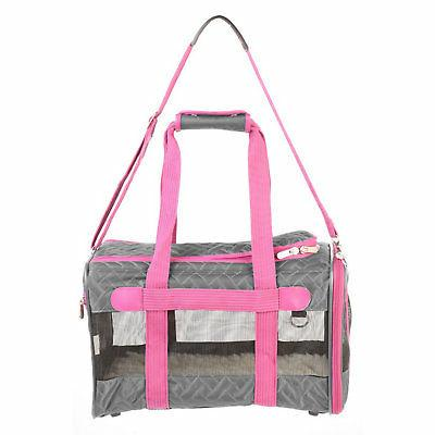 deluxe pet carrier gray pink