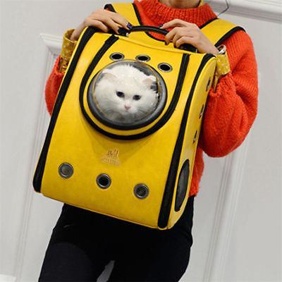 Dog Leather Backpack Pet Carrier Breathable Travel Bag USA