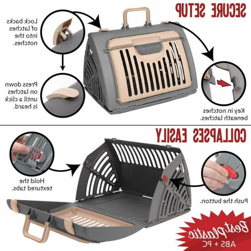 SportPet Designs Foldable Cat Carrier - Door Plastic Collapsible Ca