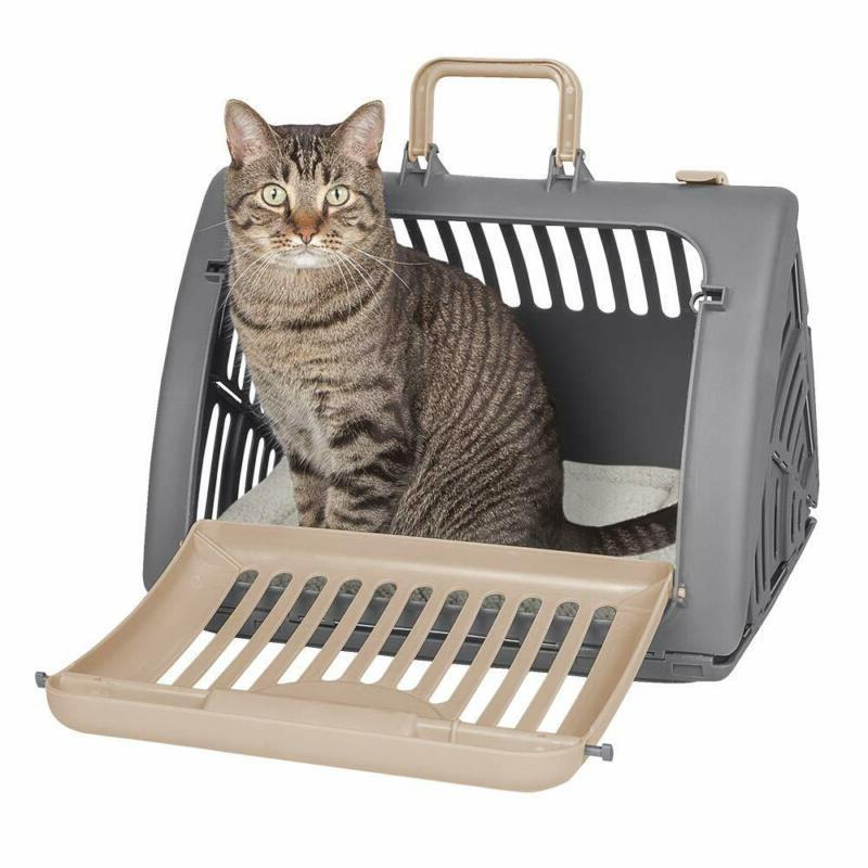 foldable travel cat carrier front door plastic