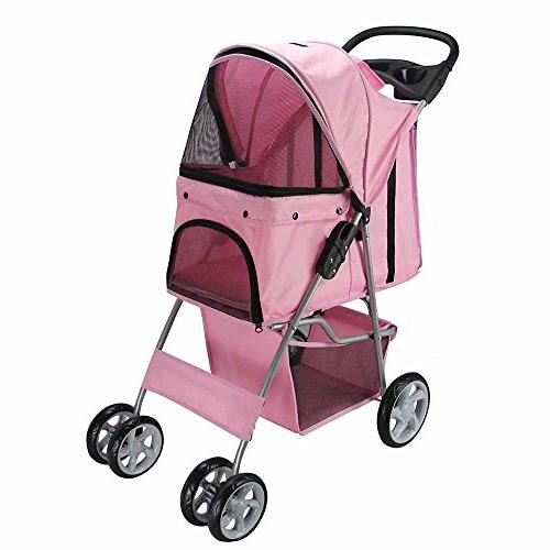 Paws Pet Stroller Easy Folding Carriage, Rose Wine