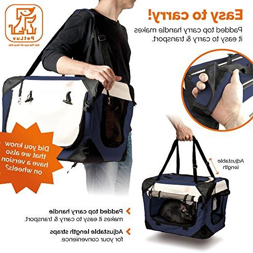 PetLuv Happy Premium Soft Sided Foldable Top & Side Pet Carrier & - Zippers Shoulder Carry Straps Lock Pillow Anxiety
