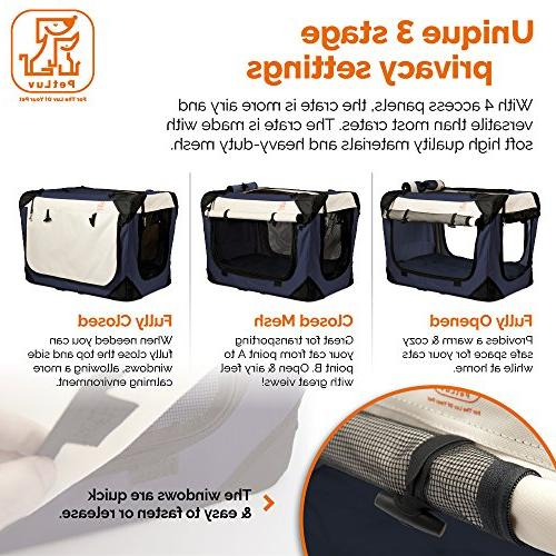 PetLuv Cat Premium Soft Sided & Loading Pet Carrier & Crate - Locking Zippers Carry Seat Lock Nap Pillow Anxiety