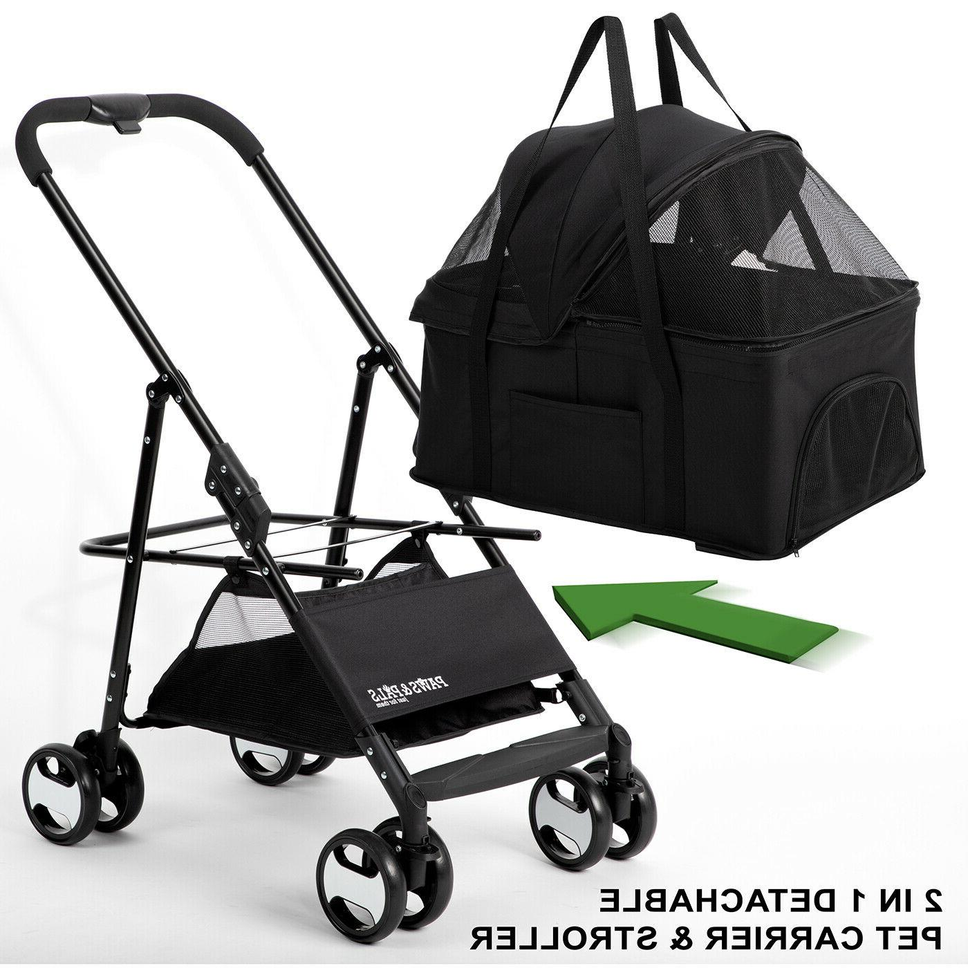 Dog Pet Carriage for & Cats Detachable Cart