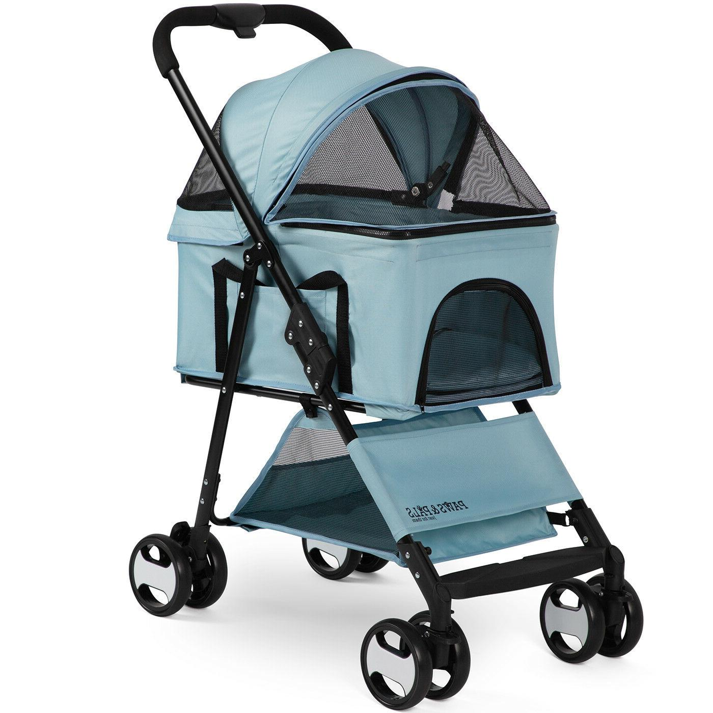 Pet Stroller Detachable Carrier Cat 4