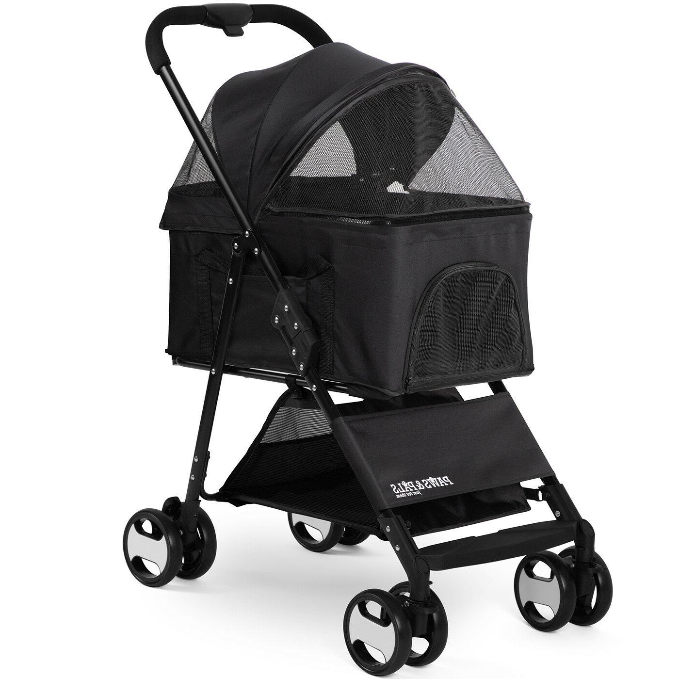pet stroller 2 in 1 detachable carrier
