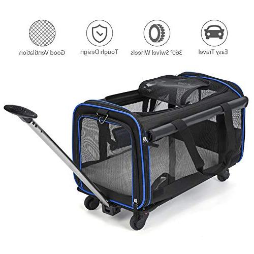 """YOUTHINK Pet Wheels Rolling Carrier, Removable Wheeled Travel Carrier Pets up to with Extendable 12""""x 11"""", Black"""