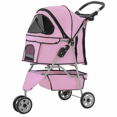 pink pet stroller cat dog