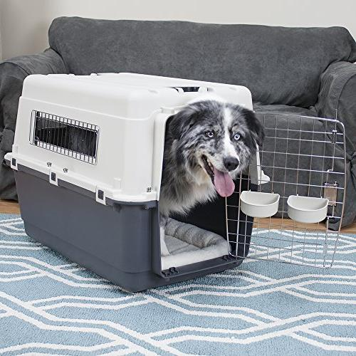 SportPet Rolling Plastic Wire Travel Dog Large Kennel