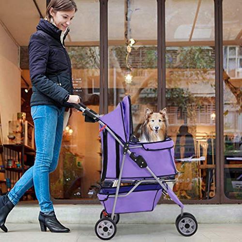 BestPet Cat Dog Cage 3 Stroller Travel Folding