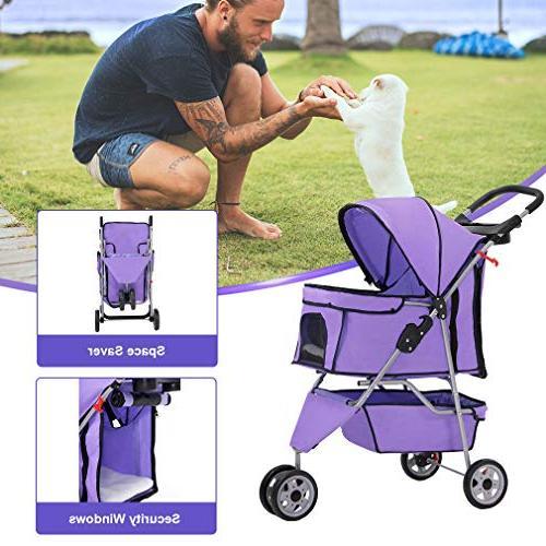 BestPet Pet Dog Stroller Travel Folding