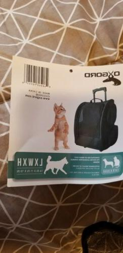 Rolling Pet Carrier Travel Tote Black 14inL X 11inW X 19inH